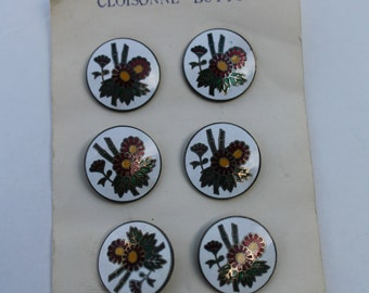 Vintage Cloisonne Buttons NOS on card White with Burgundy Flowers Made in Japan