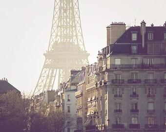 Paris Photography, Magic Hour, Parisian Rooftops, Eiffel tower, French Decor, Paris Wall Art, Neutral decor, Summer in Paris