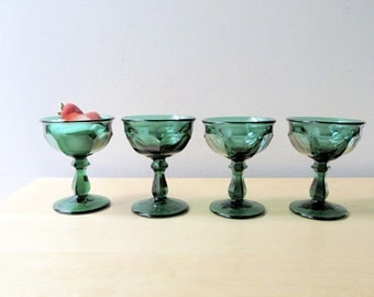 holiday greens champagne sherbet imperial glass old williamsburg emerald green glassware