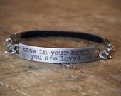 2pc Indie Charm Interchangeable Bracelet with 1 Leather Strap & 1 Quote Bar Charm - U Pick