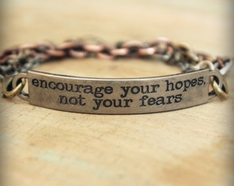 """2pc Indie Inspirational Quote Interchangeable Bracelet ... """"Encourage your hopes, not your fears"""""""