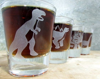 Dinosaur Quartet Sandblast Etched Shot Glasses