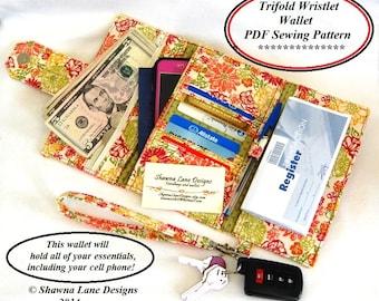 women's wallet sewing pattern, cell phone wallet accessory, digital wallet pattern, wallet tutorial, purse pattern, gifts to make