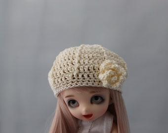 Cream Crochet Hat for Pukifee BJD, Lati Yellow or Monster Dolls Beret