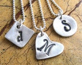 Silver Initial Necklace Personalized Jewelry Sterling Silver Necklace Hand Stamped Monogram Necklace Silver Artisan Pendant
