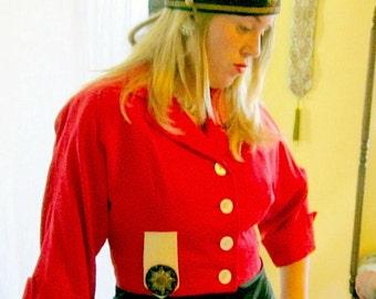 50s Vintage Jacket 1950s Red Designer  Military Style Gabardine Metallic Badge