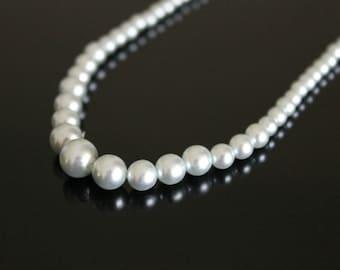 Vintage Faux Pale Blue Pearls Choker Necklace Japan 1950s Necklace