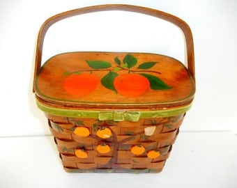 Vintage Box Purse Basket with Oranges and Birds Hand Painted Artist Signed Wooden Box Purse