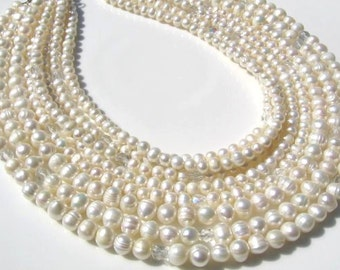 Freshwater pearl and firepolish bead multi strand necklace, wedding, bridal, special occasion