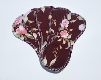 5 Cotton Wingless Contour Cloth Liners - Pink Roses