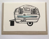 classic Frankin Caravan Linocut greeting card