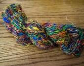 Multicolor Recycled Silk Sari Yarn - Rainbow Colors - 80yds