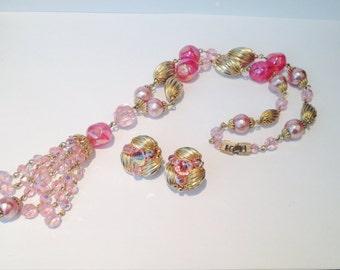 Beautiful vintage 60s sherman pink swarovski crystal sautoir necklace and earrings set // demi parue // tassell // designer //rare
