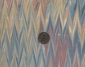 Marbled Paper with a Green, Grey-Blue, Red, Yellow, and Prussian Blue Antiqued Gel Git Pattern