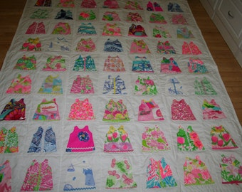 Twin size shift dress quilt made with Lilly Pulitzer fabric