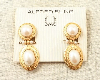 SALE --- Vintage Alfred Sung Huge goldtone and Faux Pearl Tiered Earings