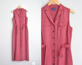 vintage '90s light brick red sleeveless SILK BUTTON-FRONT maxi shirtdress. size m.