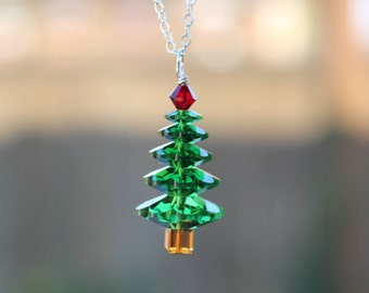 Forest green Christmas tree necklace - Dark moss green and Siam red Swarovski crystals, sterling silver chain - Free shipping USA