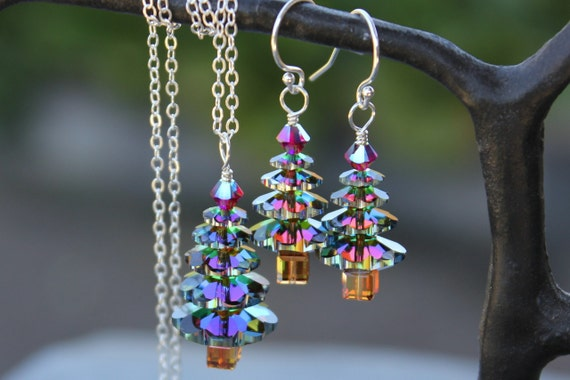 Color changing crystal Christmas tree sterling silver jewelry set - necklace and earring set - green, gold, magenta - free shipping in USA
