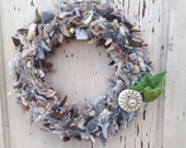 Neutral tan and gray recycled sweater felt wreath