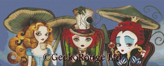 Cross stitch kit, Sandra Vargas 'Tea Party', Alice in Wonderland,  Modern cross stitch kit, Mad Hatter Cross Stitch, Queen of Hearts, Alice