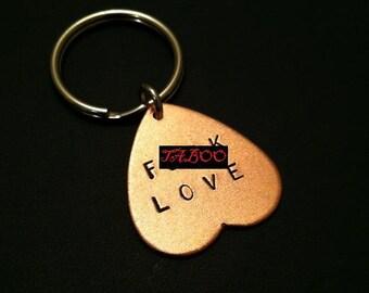 Anti Love, Valentine Day Gift, Funny Valentine Heart Keychain, Fuck Love, Love Keyring, Key Ring, Anti-Valentines, Mature