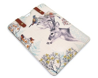 Leather iPad Air Case, iPad Air 2 Case, iPad 4 Case, Tablet Case - Stag and Birds
