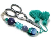 Scissor Fob, Beaded, Teal, Green, Periwinkle, Lavender, Scissor Keeper, Sewing, Quilting, Cross Stitch, Needlepoint