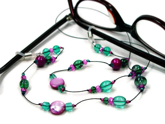 Eyeglass Chain, Glasses Chain, Reading Glasses Lanyard, Glasses Holder, Green, Magenta, Pink, Purple, Stylish Eyewear, Glasses Leash