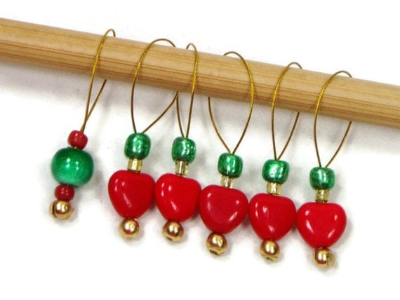 Stitch Markers Snagless DIY Knitting Beaded Red Heart Green