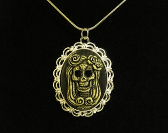 Day of the Dead Sugar Skull Cameo Necklace #2