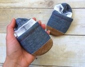 Soft Soled Baby Shoes - Colorful Speckled Chambray