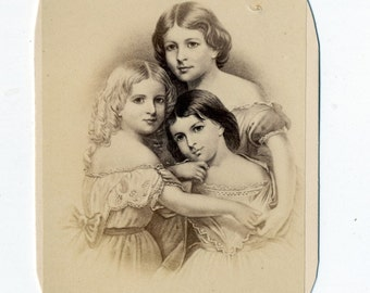 1860s - 1870s Antique CDV. Mother and Daughters