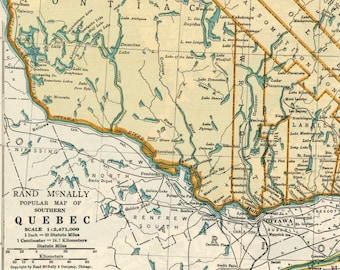 1937 Vintage Map of Quebec, Canada