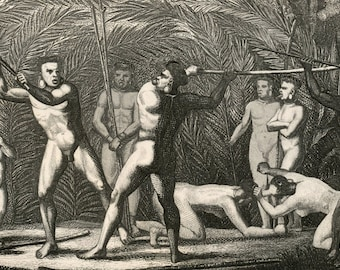 1860 Antique Steel Engraving of Brazilian Indians, Botocudos, Purvis