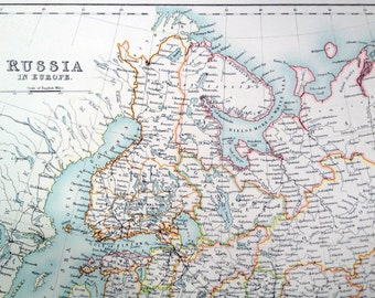 1890 Large Two-page Vintage Map of Russia in Europe. Antique Russia Map. From Scribner's Special Library Edition Atlas
