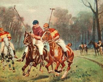 1916 Antique Sports Print. Polo