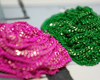 The shiny green and pink