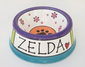 Feed Your Dog in Style - PERSONALIZED Custom Dog Bowl - RAINBOW LARGE