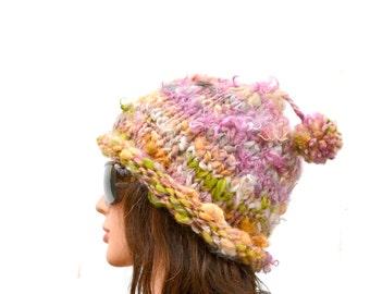 Chunky Winter Hat, Boho Chic Cap, Woman Pom Pom Cloche