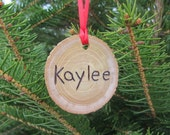 Personalized gift rustic wooden Christmas ornament natural Red Holiday decor