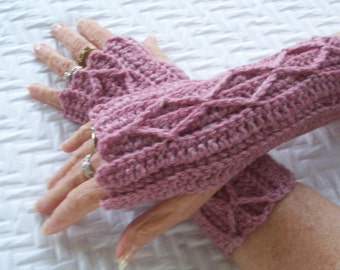 Womens Crochet Mitts, Rose Pink Mitts, Fingerless Mitts, Wristwarmers, Washable Wool, Crocheted Cable Mitts, Tenn Girl Mittens, Pink Mittens