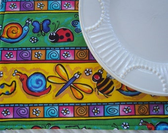 Kids Single Placemat, Happy Bugs, Lunchbox Placemat, Fabric Placemat, Cloth Placemat