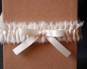 Wedding Garter - Skinny Ivory Chiffon and Lace Bridal Garter with Bow - Milly