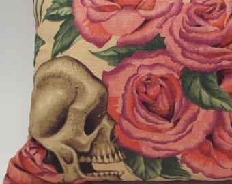 "Lavender Buckwheat Pillow - Skulls and Roses Goth Decor Neck Pillow - Pink Decorative Throw Pillow - 13 1/2"" x 8 1/2"""