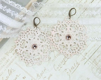 Pink Filigree Earrings Large Filigree Earrings Pink Dangle Earrings Pink Statement Earrings Extra Large Earrings
