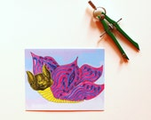 baterfly postcard set of two in chartreuse and blue and purple for your penpal who likes bats but not butterflies