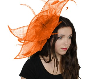 Viktoria - Orange Fascinator Hat for Weddings, Races, and Special Events With Headband (in 40 colours)