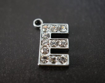 CLOSEOUT SALE - Durable High Quality Rhodium Plated Small Crystal Pave Letter E Pendant  - 14mm Tall - 1 piece