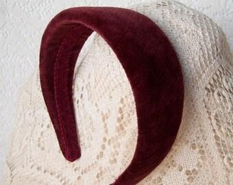 wide burgundy velvet hairband